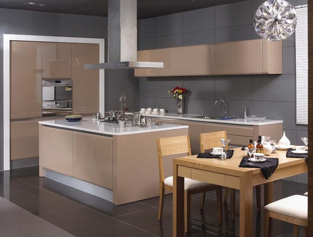 Buy Grey lacquer modern kitchen cabinet from Reliable modern kitchen
