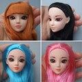 Excelente Qualidade Cabeça Da Boneca com Colorized Cabelo liso Acessórios DIY para Bonecas Barbie brinquedo cabeça 1/6 cabeça de boneca para a menina presente