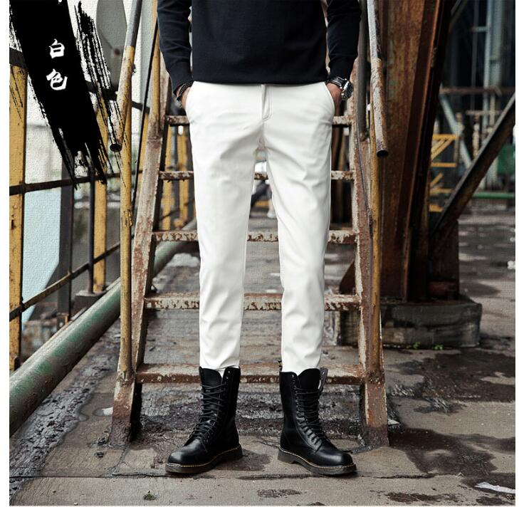 2019 new fashion leather pants male Korean version of the slim feet pants men's tight motorcycle leather pants - 5