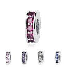 925 пробы с украшениями в виде серебристых кристаллов распорки, очаровательные, подходят к оригиналу Pandora, браслет с австрийскими кристаллам...