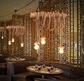 Americano Do Vintage Simples Decoração Cafe Bar Restaurante Lustre Corda Personalidade Criativa Lustre De Bambu Frete Grátis