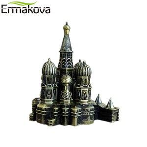 Image 2 - ERMAKOVA Ретро Бронзовая Металлическая статуэтка Кремля статуя модель здания для гостиной винтажный Домашний Настольный Декор подарок