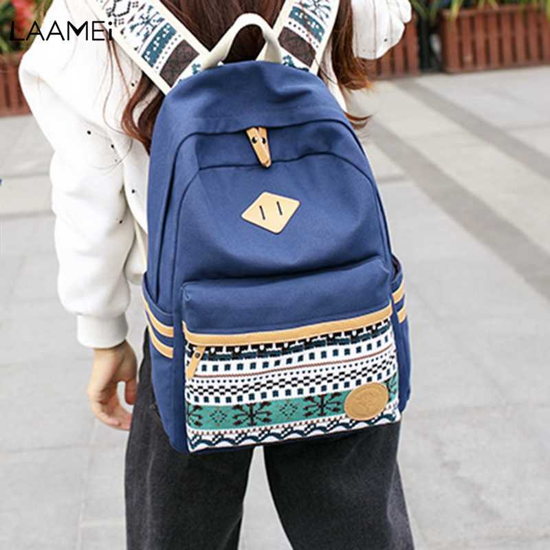 Laamei Computer Bag Backpack 2018 New Middle School Student Bag Fashion Canvas Printing College Wind Backpack рюкзак fashion tender 2015 z 082 canvas bag fashion college backpack women vintage backpack