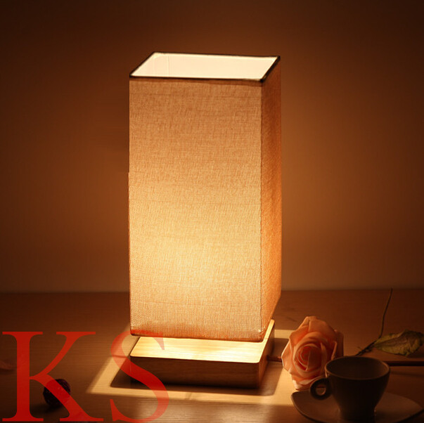 Modern square table lamp wood light led light wooden lamp shade ...
