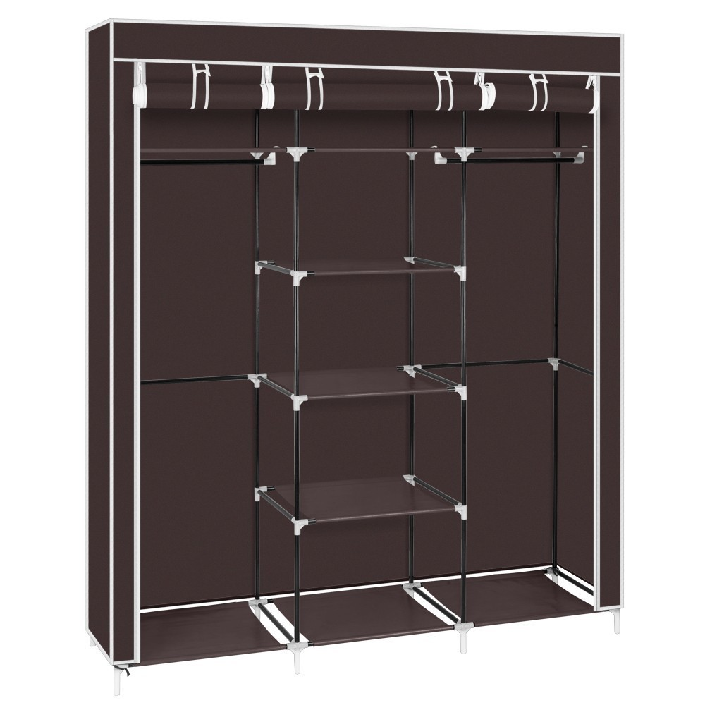 Non-woven Fabric Steel Tube Wardrobe Dustproof 5-Tiers Clothes Quilt Shoes Storage Rack Assembly Clothing Hanger Closet