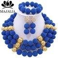 Мода нигерии свадьба африканские бусы Комплект ювелирных изделий синий пластиковые бусы ожерелье браслет серьги комплект ювелирных изделий VV-124