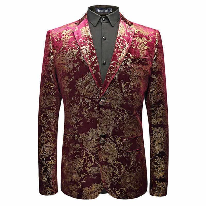 Aksamitna srebrna marynarka męska z tkaniny tureckiej w kwiaty kurtki wino czerwone złote kostium sceniczny kurtka elegancka męska marynarka ślubna Plus rozmiar M-6XL