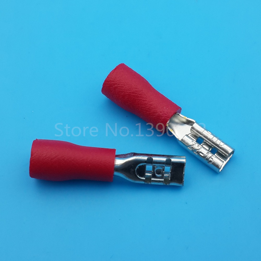 1000Pcs RED FDD1.25 110 2.8mm Female 16 22 AWG Spade Insulated Quick ...