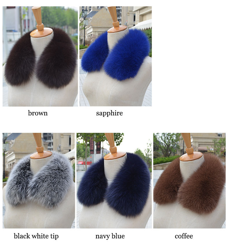 natural real fox fur collar Squar Men Women's Genuine Leather Fashion Fur Scarves Clothing accessory for winter coats and jacket