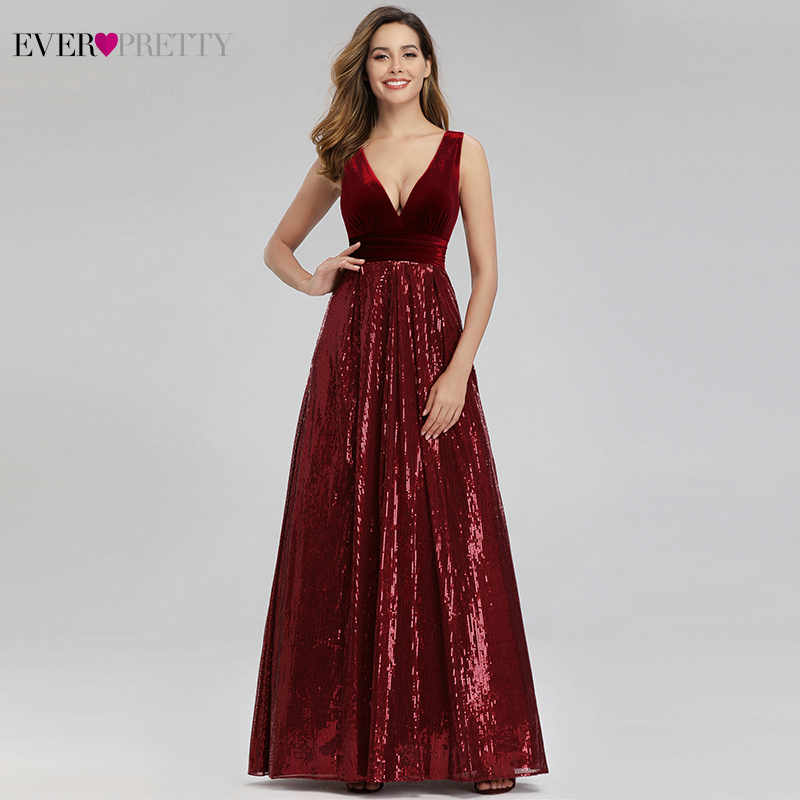 Ever Pretty Burgundy Evening Dresses Sequined A-Line Double V-Neck Sexy Formal Dresses Party Long Gowns Robe De Soiree Femme