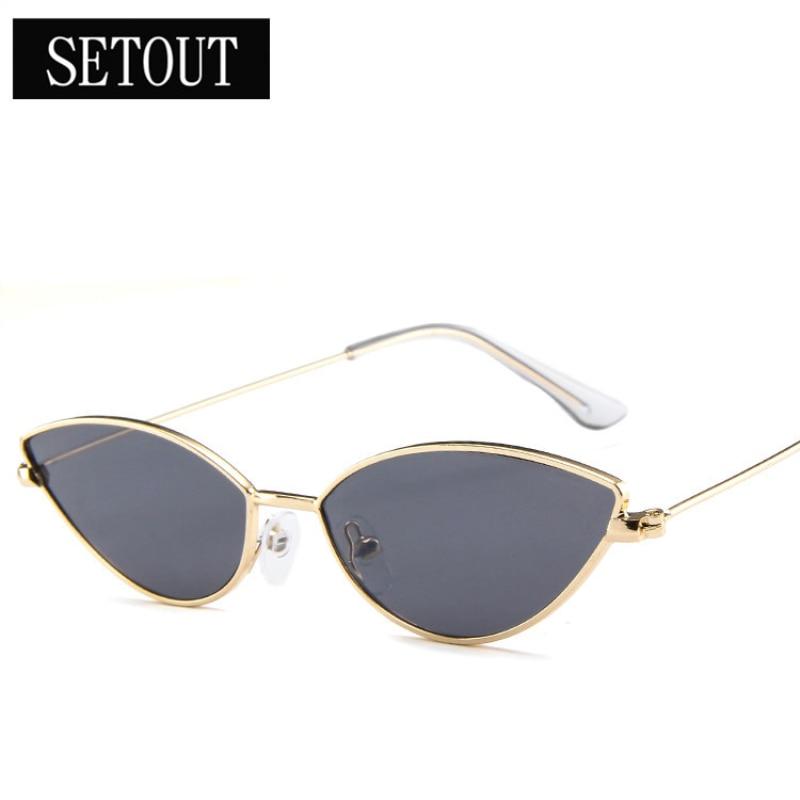 b41e876e8edfd SETOUT 2019 Women And Men Sunglasses Small frame Metal Cat Eye Classic  Dazzle Color Retro Brand Designer Vintage Sun Glasses-in Sunglasses from  Apparel ...