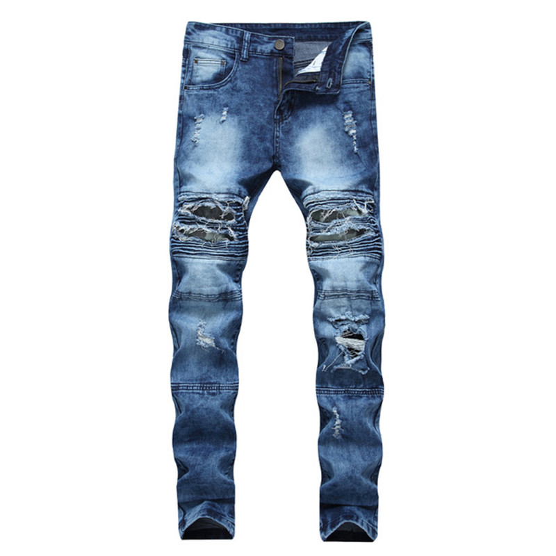 2019 New Men's Hole Small Feet Slim Stretch Casual Jeans Motorcycle Camouflage Large Size Men's Trousers More Size 28-40 42
