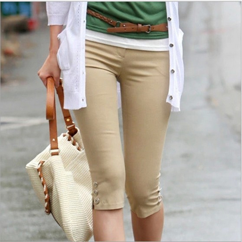 3 Solid color 4XL plus size High elasticity 2018 summer trousers for women casual slim pencil   pants     capris   ladies office   pants