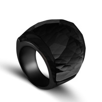 ZMZY 2017 New Fashion Black Large Rings For Women Wedding Jewelry Big Crystal Stone Ring 316L
