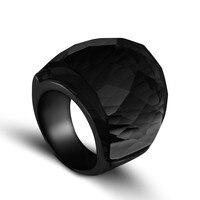ZMZY 2019 новые модные черные Большие кольца для женщин Свадебные украшения с большими кристаллами Кольцо 316L нержавеющая сталь Anillos