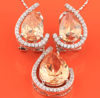 2017 New Style Morganite Gems 925 Sterling Silver Jewelry Sets Earring Pendant S8234