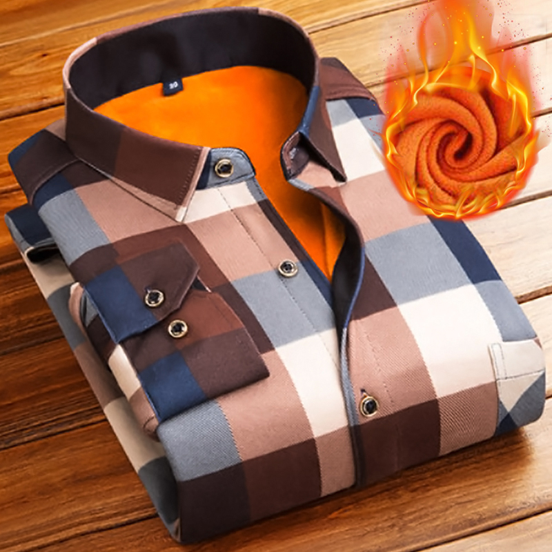 Fashion <font><b>Men</b></font> <font><b>Winter</b></font> Thick Flannel <font><b>Warm</b></font> Plaid Dress <font><b>Shirts</b></font> Long Sleeve <font><b>Men's</b></font> Work <font><b>Shirts</b></font> Casual Slim Fit Camisa Social <font><b>Shirts</b></font> 4XL image