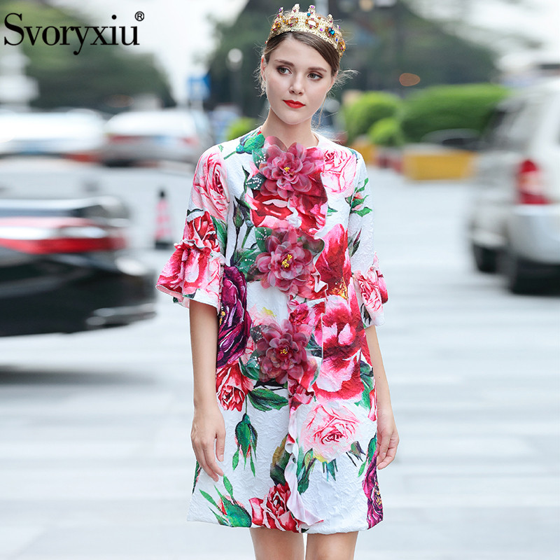 Svoryxiu Runway Custom Autumn Loose Long Coat Tops Women s Charming Peony Flower Printed Appliques Jacquard