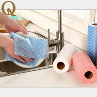 Roll Of 50pcs High Efficient Environmental Washing Dish Towel Magic Kitchen Cleaning Cloth Non Stick Oil
