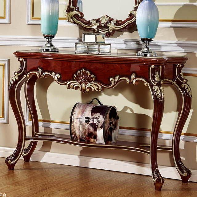 The New Classical European Style Console Table With Mirror-in Living ...