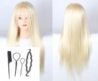 CAMMITEVER White Hair Female Mannequin Head Hair Training Practice Training Head Mannequin Manikin