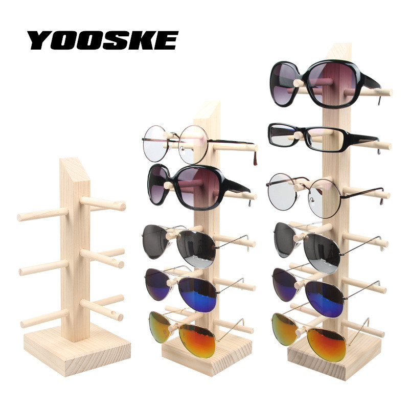 YOOSKE Wood Display Rack Organizer for Sunglasses Counter Holder Glasses Display Stand Bamboo 6 5 4 3 Pairs Eyglasses Show
