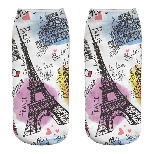 Las mujeres impreso Fitness Calcetines Harajuku Mujer Calcetines Mujer Mona Lisa Torre Eiffel impreso Calcetines de las mujeres