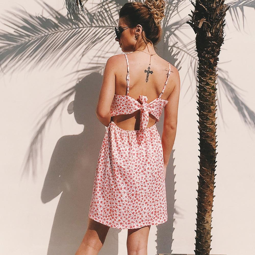 Mignon femmes plage a-ligne robe Mini Spaghetti sangle robe d'été doux Sexy col en v imprimé Slim robe taille S-XXL