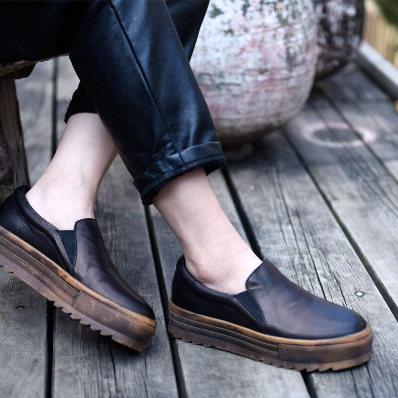 Artmu Original Women Shoe Platform Thick Sole Genuine Leather Casual Shoes Handmade Comfortable Flat Four Seasons Shoes 18005