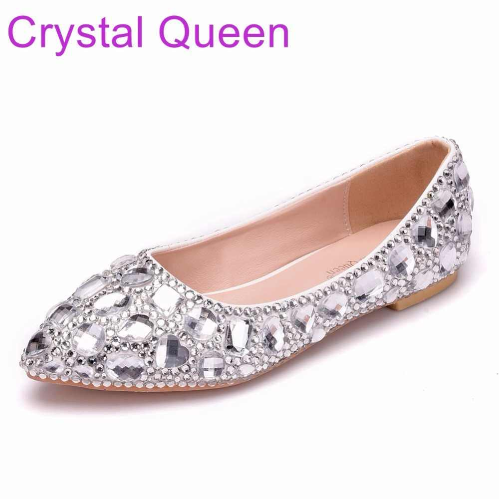 14525de0012 Crystal Queen Women Shoes Flats Pointed Toe Plus Size Wedding Shoes Flat  Heel Rhinestone Ballet Flats