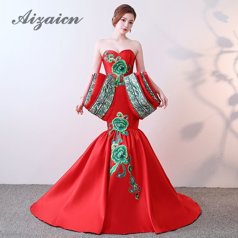 Luxury Chinese Evening Dresses Strapless Sexy Backless Red Mermaid Wedding Dress Long Tailing 2018 Embroidery Cheongsam Qipao
