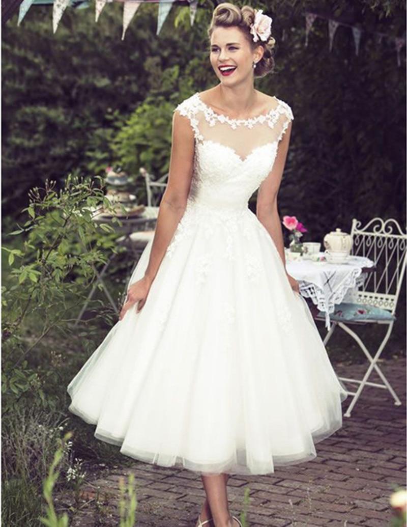1950s Vintage Wedding Dresses Tea Length Lace Tulle Cap