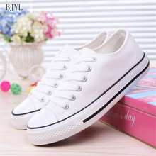 BJYL Women casual sneakers 2019 new white canvas shoes female spring summer woman students couple walking shoes Zapatos B178