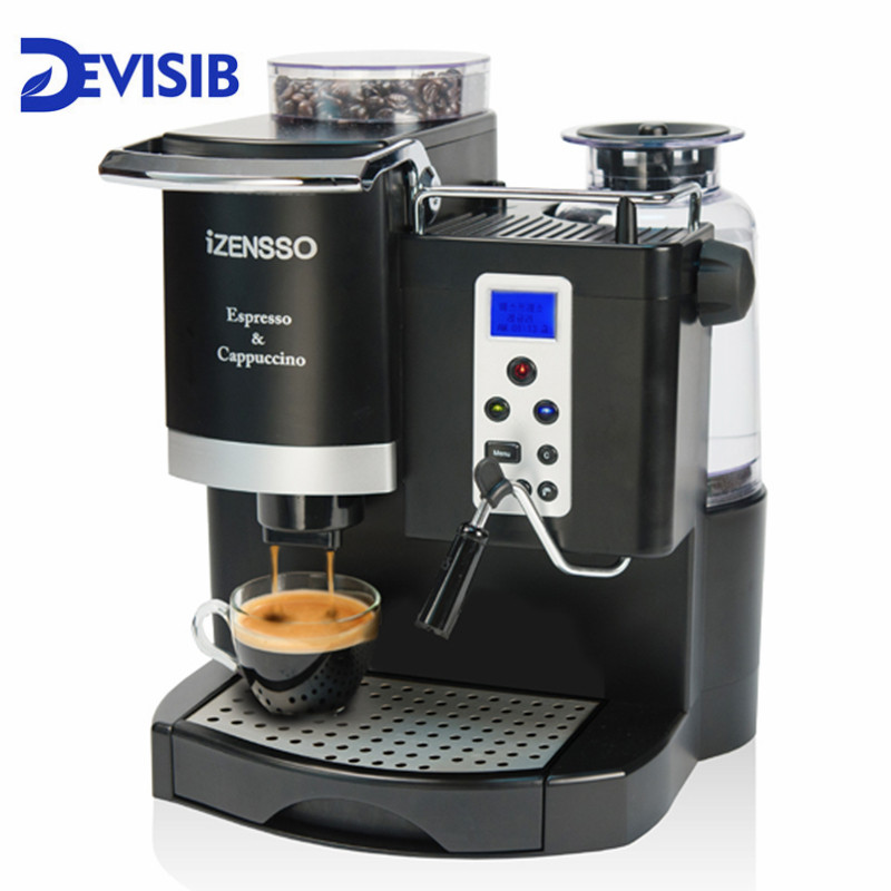 DEVISIB 20BAR Italie-type Automatique Espresso Machine À Café Maker avec Bean Grinder et Mousseur À Lait 1 Année Garantie, Y Compris