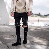 Kanye West Represent Same Jeans Men light blue/black designer Rock Star Destroyed Ripped Skinny distressed jeans Plus Size 40