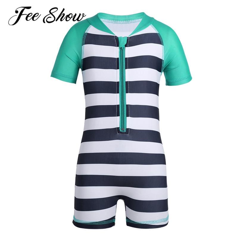 0-24 Monate Infant Unisex Baby Kurzarm Einteiliges Reißverschluss Gestreiften Badeanzug Jungen Mädchen Bademode Badeanzug Rash Guard Attraktive Designs;
