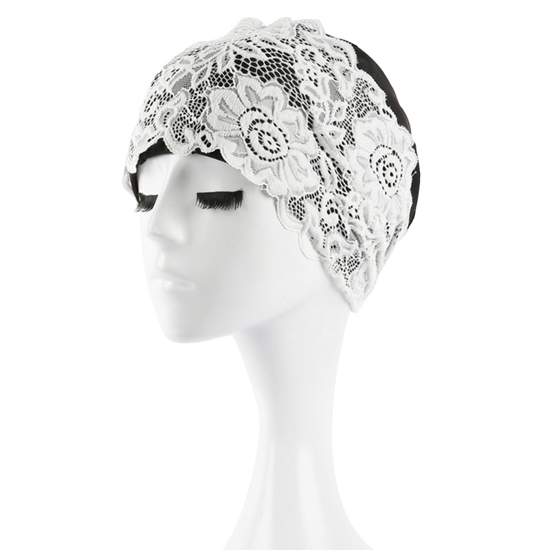 Women Swimming Cap Bathing Swiming Hat Lace Flower Waterproof PU Coating Fabric Swim Pool Caps Protect Long Hair Ears For Women