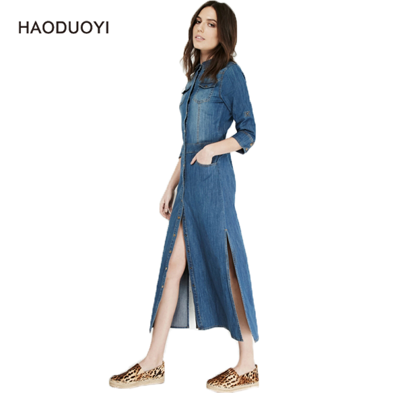 Vinage Slim Single breasted Women Blue Denim Dress Long With Pocket Sexy Split Three Quarter Sleeve Casual vestidos denim mujer