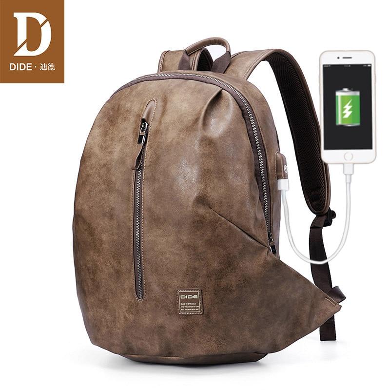Bagaj ve Çantalar'ten Sırt Çantaları'de DIDE anti hırsızlık USB 15.6 inç Laptop Sırt Çantaları Genç Erkek Erkek Mochila Vintage Deri Seyahat omuz sırt çantası Çanta Erkekler'da  Grup 1