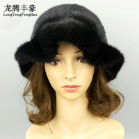 Women Real Mink Fur Bowler Hat Winter Black Fur Cap With Lace Female Causal Average Code Hat Female Genuine Fur Thick Fedoras