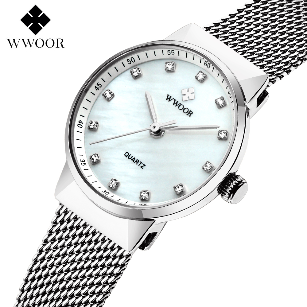 WWOOR Women's Watches Top brand Stainless steel strap Quartz Watch Lady Fashion ultra-thin dial Bracelet Women Female Clock Gift arabic numbers dial design women s fashion watch stainless steel ultra thin silver women quartz watches bgg brand horloge saat