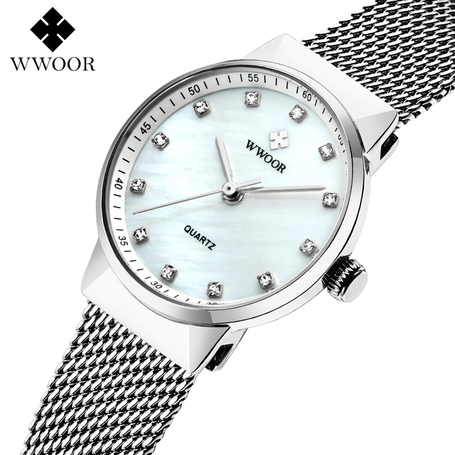 WWOOR Women's Watches Top brand Stainless steel strap Quartz Watch Lady Fashion