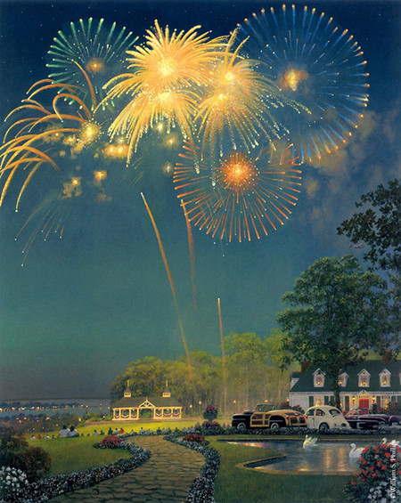 ᗛEnvío Gratis pastoral fuegos artificiales casa noche paisaje lona ...