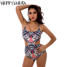 HAPPYSHARK Sexy Hollow Out Monokini 2018 New One Piece Swimwear Colorful Printed Swimsuit X Cross Bandage Backless Beachwear