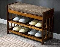 Полка для обуви из бамбука скамейке хранения Организатор бамбуковая мебель двери прихожей большой обуви стойки дома прихожей полка стенд