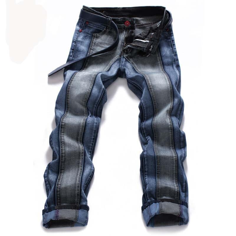 Mcikkny Fashion Men's Stretch Jean Pants Slim Fit Patchwork Denim Trousers Male Streeetwear Pants Straight