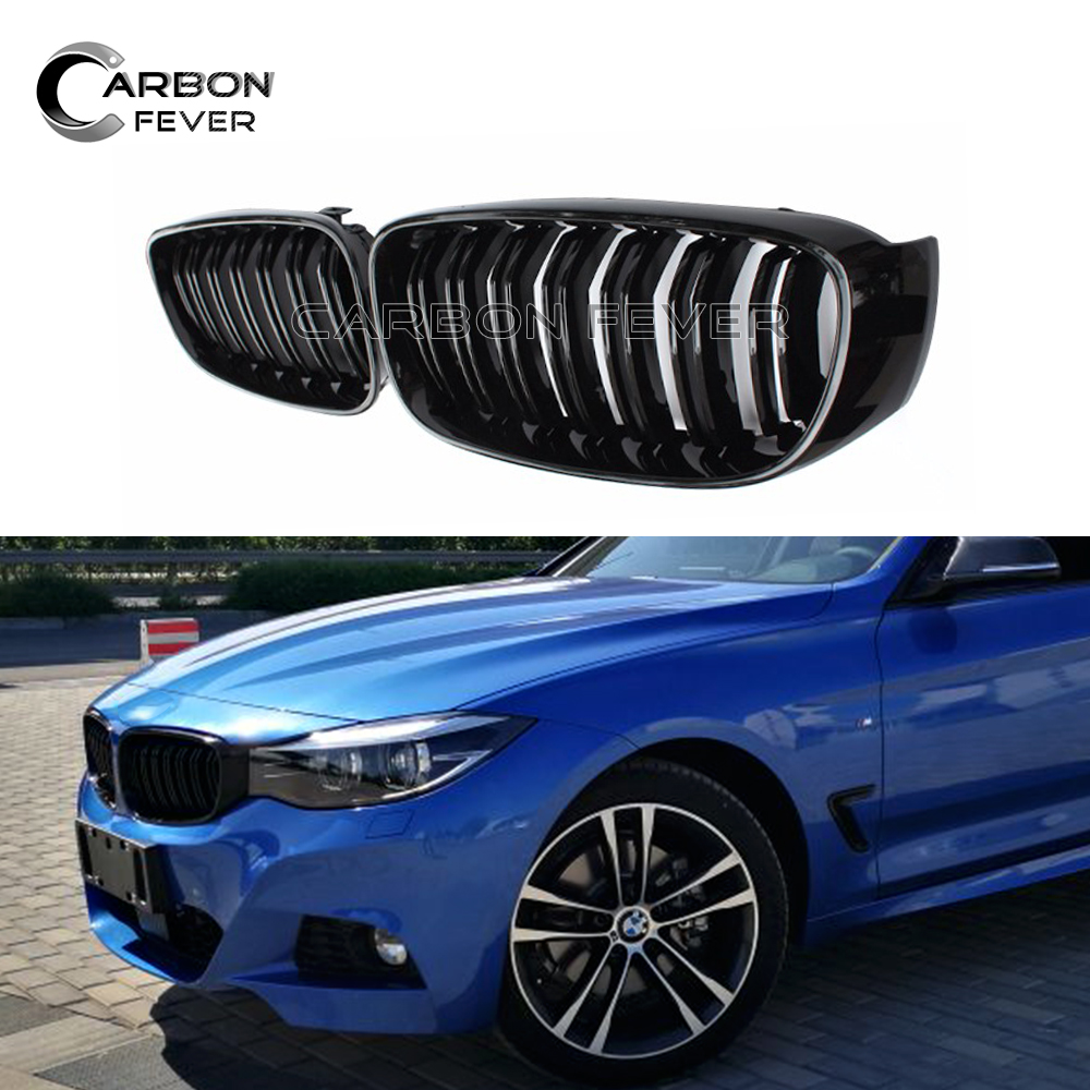 Dual Pair Racing Grills For BMW F34 Gran Turismo 320i 328i 330i 335i 340i 325d Glossy Black Front Bumper Grille Car Stying Grill 1 pair gloss black m color front bumper center kidney grilles for bmw x3 f25 2011 2012 2013 2014 racing grills