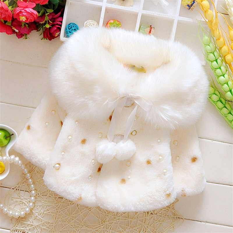 Lovely Faux Fur Coats for Baby Girls Autumn Winter Black Dot Clothing Child Wool Outwear Little Girl Beadings Shawl Kids Costume