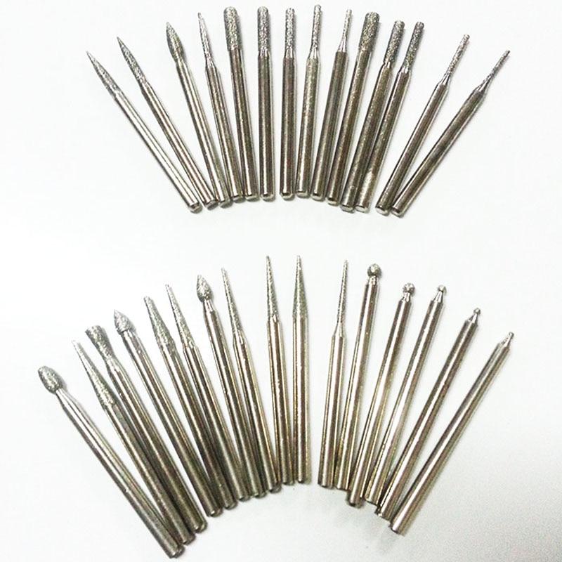 30pcs 3mm frese diamantate mini set di punte dremel accessori per utensili rotanti mola diamantata testa abrasiva lucidatura bava