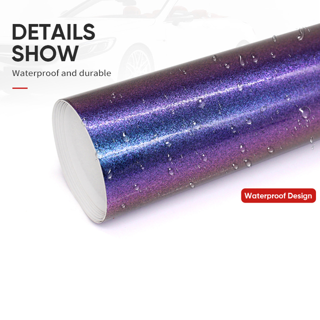 30cm Wide Pearl Glossy Chameleon Vinyl Sticker Purple Blue Vinyl Car Wrap Film With Air Bubble Styling Color-Changing Film